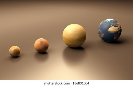 A rendered size-comparison sheet between the Planets Mercury, Mars, Venus and Earth.