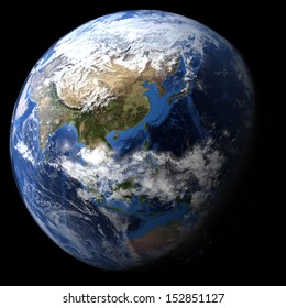 Rendered three dimensional earth