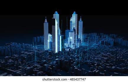 Rendering Abstract Night  city. 3D illustration. Night view of the city. Cityscape in Neon lights.