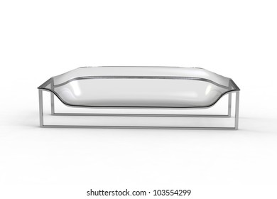 Rendering of a acrylic sofa on a white background