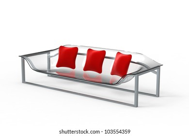 Rendering of a acrylic sofa with three pillows on a white background