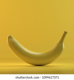 Rendering of banana. 3D design mockup. All objects and background painted in one bright colour. Full monochrome illustration. Total yellow color.