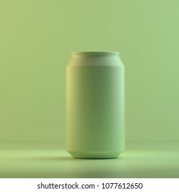Rendering of beer can. 3D design mockup. All objects and background painted in one bright colour. Full monochrome illustration. Total green color.