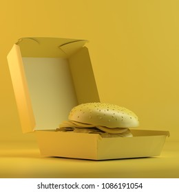 Rendering of burger in paper container. 3D design mockup. All objects and background painted in one bright colour. Full monochrome illustration. Total yellow color.