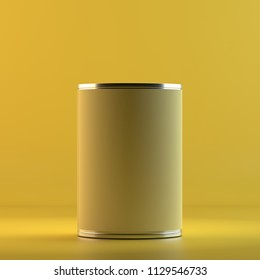 Rendering of can. 3D design mockup tinned container. All objects and background painted in one bright colour. Full monochrome illustration. Total yellow color