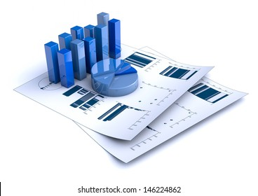 rendering of Financial charts on white background