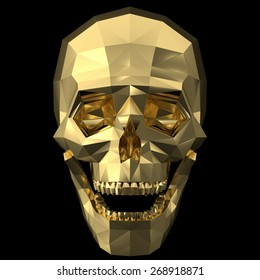 Rendering of a golden human skull with polygonized style on the black background.