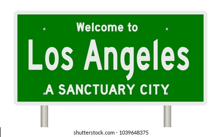 Rendering of a green highway sign for the sanctuary city of Los Angeles California