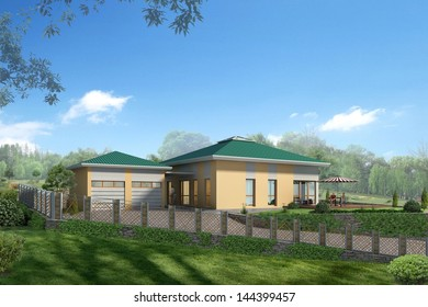 Rendering house stands for fast and effective marketing of high-quality real estate Broker in the business