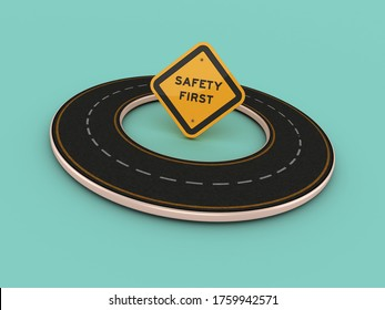 Rendering Illustration of Circular Riad with Safety First Road Sign 3D