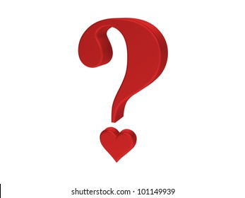 Rendering of red heart  question mark