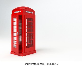 Rendering of a red london telephone box