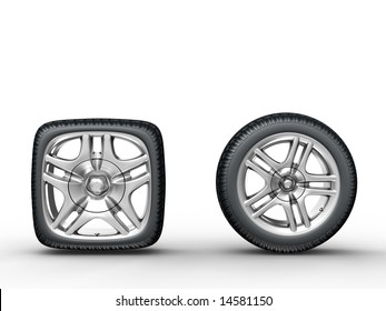 Rendering of the round and square car wheels on white background