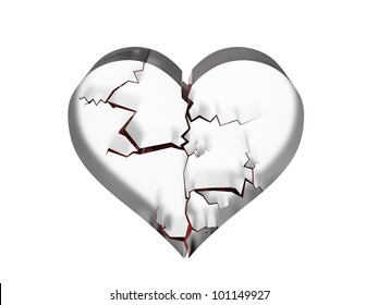 Rendering of shattered heart in glass