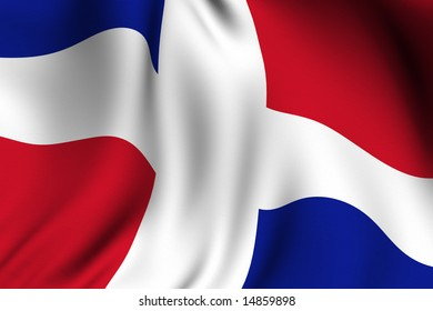 Rendering of a waving flag of the Dominican Republic with accurate colors and design.