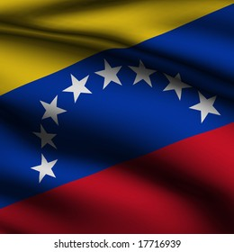 Rendering of a waving flag of Venezuela with accurate colors and design and a fabric texture in a square format.