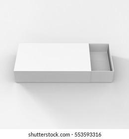 Rendering of White Cardboard Sliding Box, Match Box, 3D Illustration