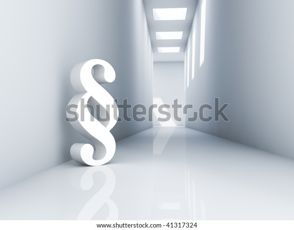 Rendering of a white paragraph symbol in a corridor