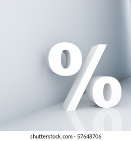 Rendering of a white percent sign on a reflective ground