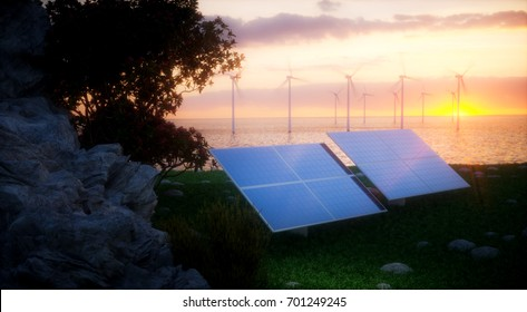 Renewable energy concept - photovoltaic and offshore wind turbines. 3d rendering.