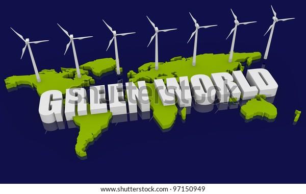 Renewable energy image with wind turbine and world map