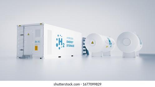 Speicherung erneuerbarer Energien - Wasserstoffgas zu sauberem Elektrizitätswerk   auf weißem Hintergrund. 3D-Darstellung.