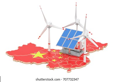 Renewable energy and sustainable development in China, concept. 3D rendering isolated on white background