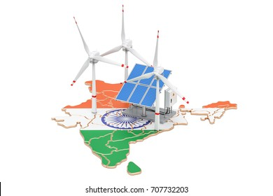 Renewable energy and sustainable development in India, concept. 3D rendering isolated on white background