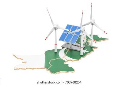 Renewable energy and sustainable development in Pakistan, concept. 3D rendering isolated on white background