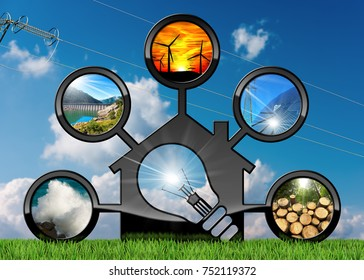 Renewable Resources - 3D illustration of a model house with a light bulb and sustainable energies. Wind, solar, biomass, hydroelectric power, power of the sea