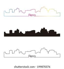 Reno skyline linear style with rainbow