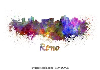 Reno skyline in watercolor splatters with clipping path