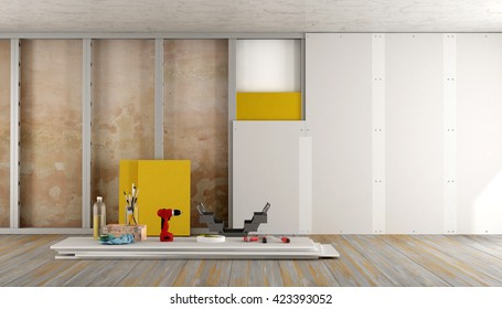 Renovation of an old house with plaster board and insulation material - 3d rendering