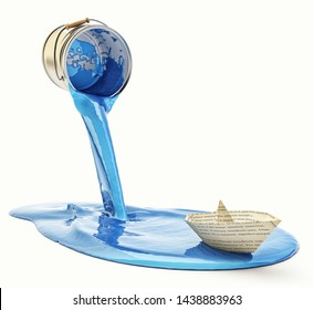 Renovation and repainting concept, paper boat sailing on blue paint pouring out of the paint can, isolated on white, 3d illustration