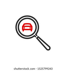 Rent Car with magnifier glass outline flat icon. Single quality outline logo search symbol for web design mobile app. Thin line design lease auto check logo. Loupe lens icon isolated white background