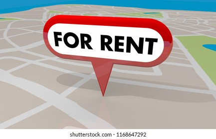 For Rent Home House Rental Property Map Pin 3d Illustration