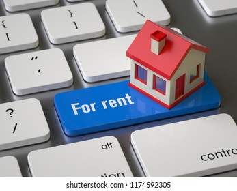 For rent key on the keyboard, 3d rendering,conceptual image.