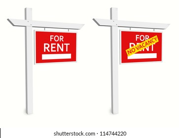 For Rent Sign and No Vacancy Sign for Communication and Marketing