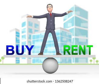 Rent Vs Buy Balance Comparing House Or Apartment Renting And Buying. Investment Or Home Ownership Of Property - 3d Illustration