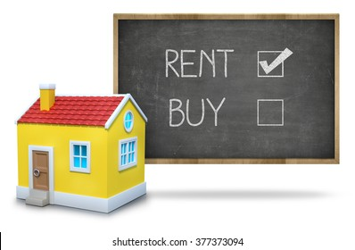 Rent vs buy concept on blackboard