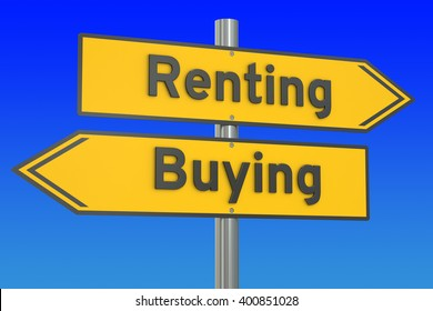 renting or buying concept, 3D rendering