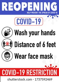 Reopening safe poster prevention of COVID19 coronavirus practical prevention tips poster print for restaurant, shop,cafe and more. Re-opening after quarantine.