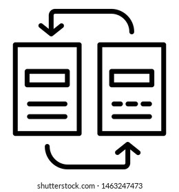 Reorganization of documents icon. Outline reorganization of documents icon for web design isolated on white background