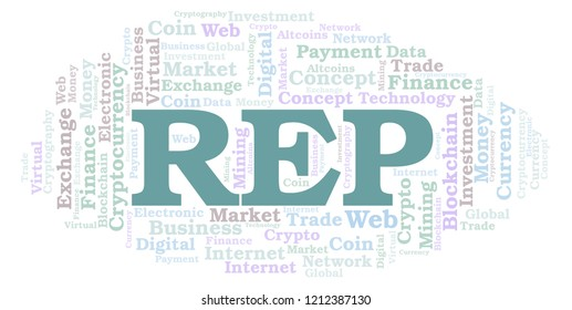 REP or Augur cryptocurrency coin word cloud.
