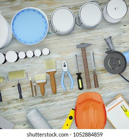 Repair Accessories. Set of tools and paints for making repair. 3D illustration