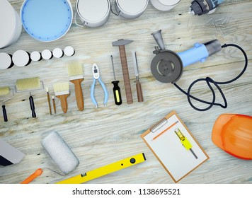 Repair Accessories. Set of tools and paints for making repair.  Wooden background. 3D illustration