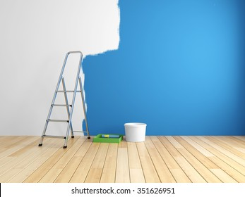 Repair and painting of walls in room. 3d rendering.