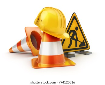 Repair road sign and orange cones and yellow helmet. 3d illustration