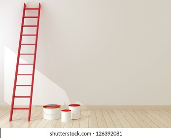 Repair in the room in which on a white wall red staircase and three cans of paint