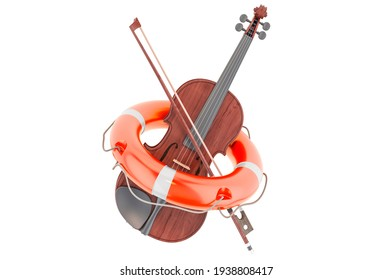Repair and service of violin, 3D rendering isolated on white background